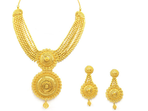 100.30g 22Kt Gold Yellow Necklace Set India Jewellery