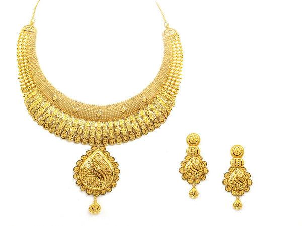 87.20g 22Kt Gold Yellow Necklace Set - 1202