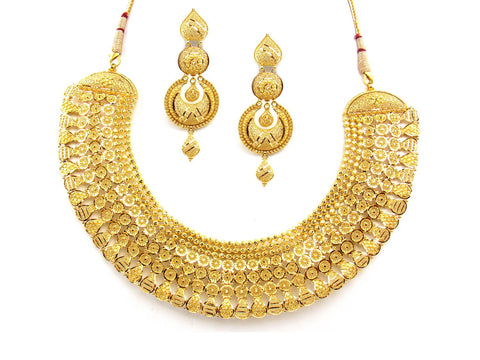 117.10g 22Kt Gold Yellow Necklace Set India Jewellery