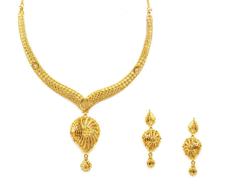 40.80g 22Kt Gold Yellow Necklace Set India Jewellery