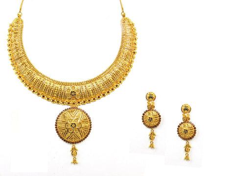 68.50g 22Kt Gold Yellow Necklace Set India Jewellery