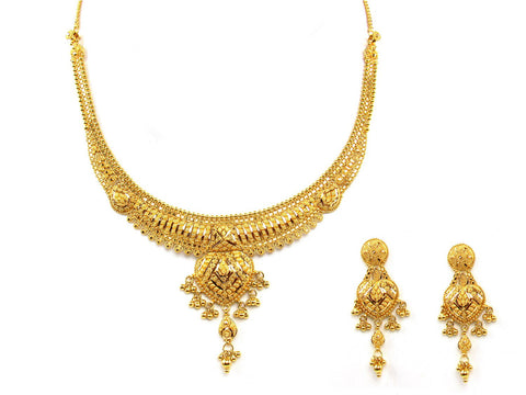 43.50g 22Kt Gold Yellow Necklace Set India Jewellery
