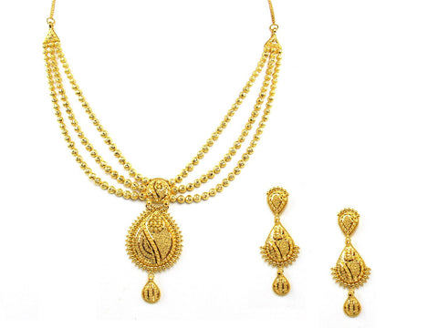40.60g 22Kt Gold Yellow Necklace Set India Jewellery