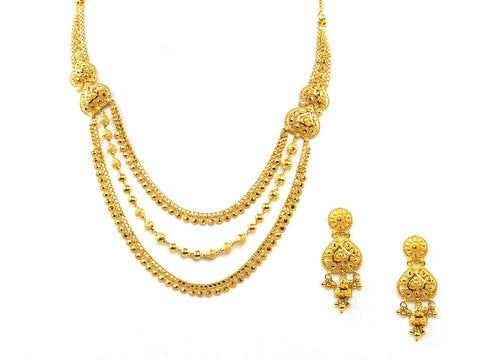 42.10g 22Kt Gold Yellow Necklace Set India Jewellery