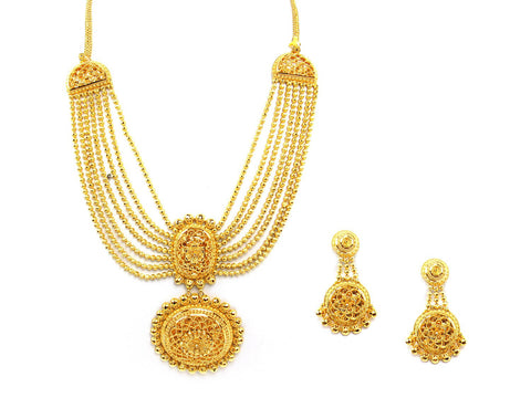 121.50g 22Kt Gold Yellow Necklace Set India Jewellery