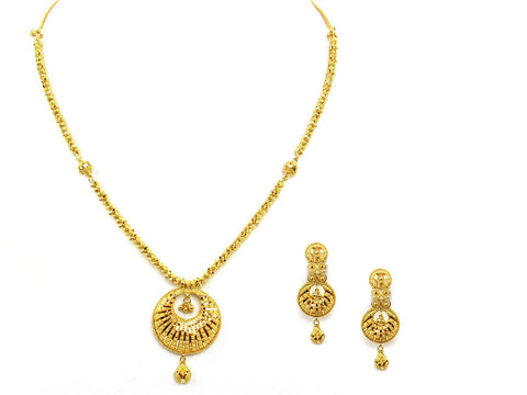 34.20g 22Kt Gold Yellow Necklace Set India Jewellery