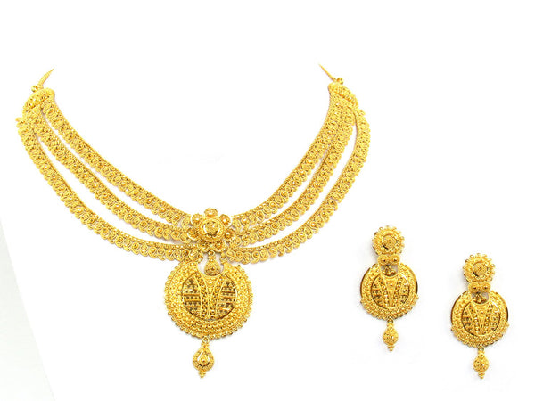 62.20g 22Kt Gold Yellow Necklace Set - 1356