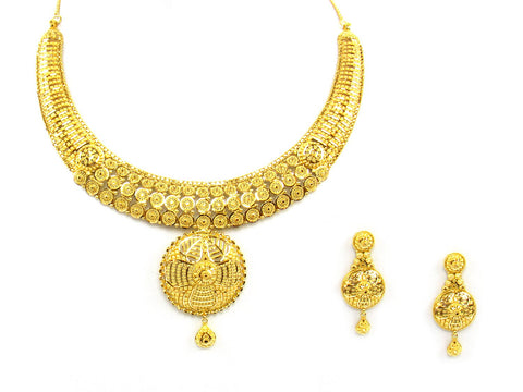 61.70g 22Kt Gold Yellow Necklace Set India Jewellery