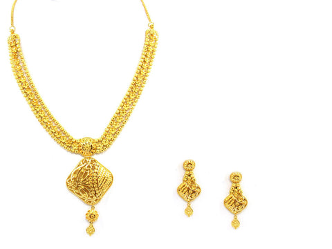 50.70g 22Kt Gold Yellow Necklace Set India Jewellery