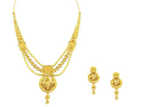 43.10g 22Kt Gold Yellow Necklace Set India Jewellery
