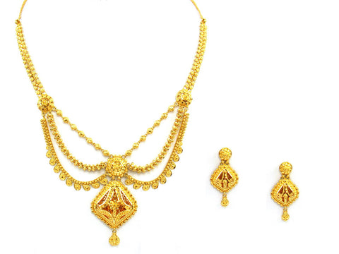 44.70g 22Kt Gold Yellow Necklace Set India Jewellery