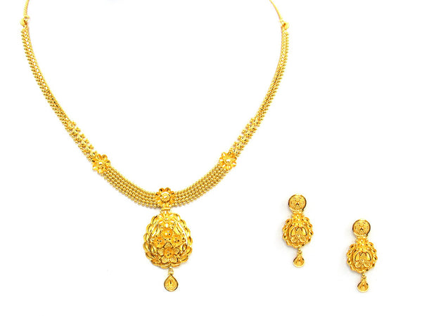 24.30g 22Kt Gold Yellow Necklace Set - 1377