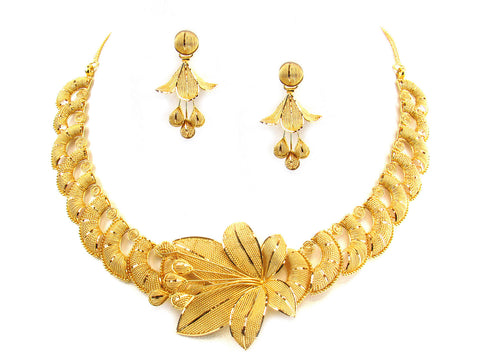 63.20g 22kt Gold Yellow Necklace Set India Jewellery