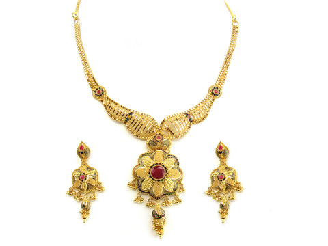 47.95g 22kt Gold Yellow Necklace Set India Jewellery