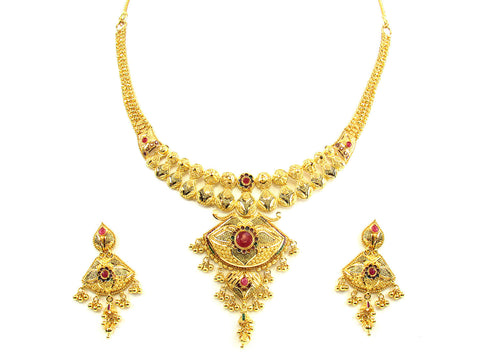 44.60g 22kt Gold Yellow Necklace Set India Jewellery