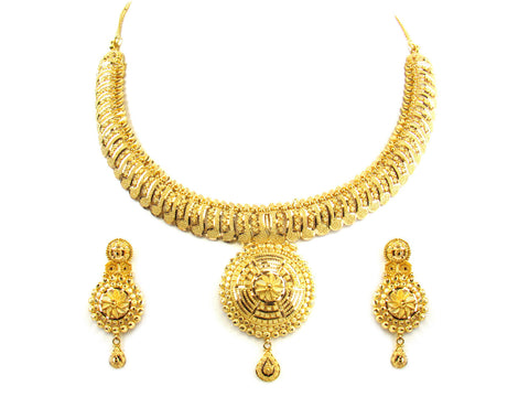 58.00g 22kt Gold Yellow Necklace Set India Jewellery