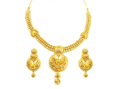 58.55g 22kt Gold Yellow Necklace Set India Jewellery