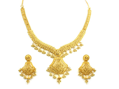 48.50g 22kt Gold Yellow Necklace Set India Jewellery