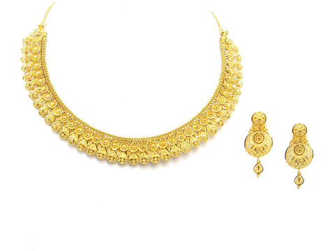 49.40g 22Kt Gold Yellow Necklace Set India Jewellery