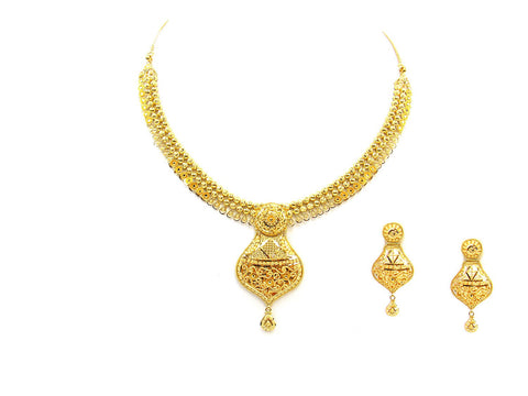 45.00g 22Kt Gold Yellow Necklace Set India Jewellery