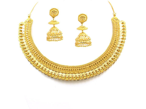 69.10g 22Kt Gold Yellow Necklace Set India Jewellery