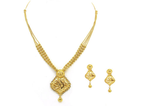 33.40g 22Kt Gold Yellow Necklace Set India Jewellery
