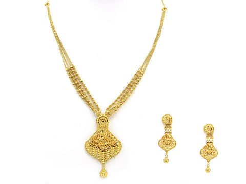 34.80g 22Kt Gold Yellow Necklace Set India Jewellery