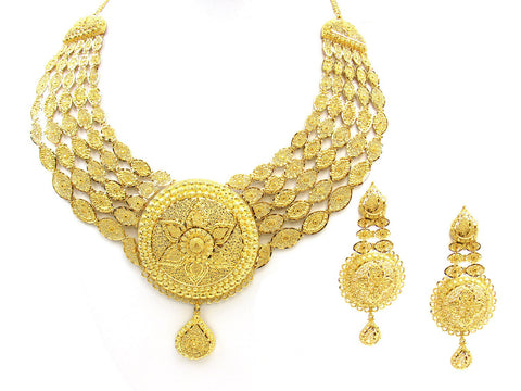 143.55g 22Kt Gold Yellow Necklace Set India Jewellery