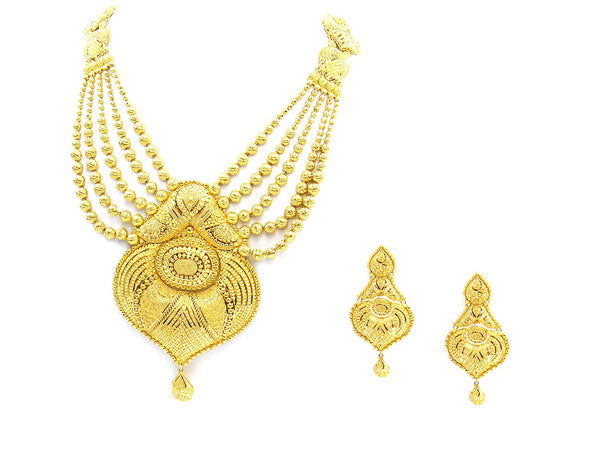 165.20g 22Kt Gold Yellow Necklace Set - 1785