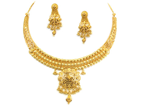 53.75g 22kt Gold Yellow Necklace Set India Jewellery
