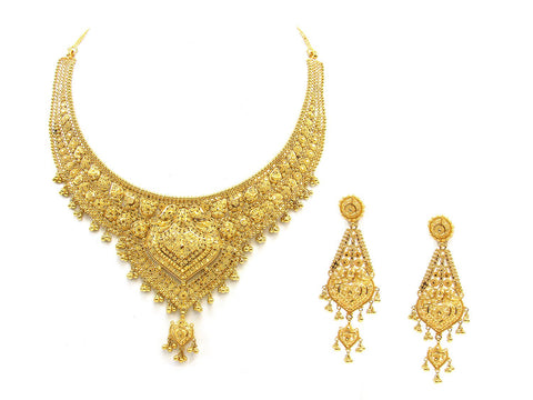 69.00g 22Kt Gold Yellow Necklace Set India Jewellery