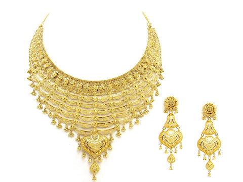 85.20g 22Kt Gold Yellow Necklace Set India Jewellery