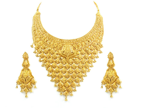 115.20g 22kt Gold Yellow Necklace Set India Jewellery