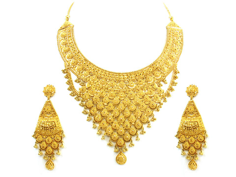 115.50g 22kt Gold Yellow Necklace Set India Jewellery