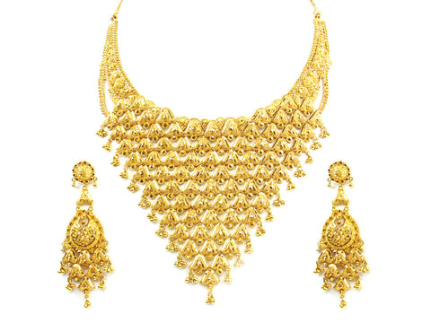 106.70g 22kt Gold Yellow Necklace Set India Jewellery