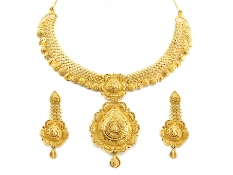 81.00g 22kt Gold Yellow Necklace Set India Jewellery