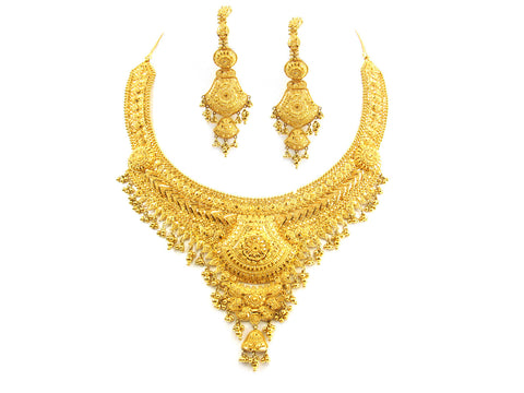 94.60g 22kt Gold Yellow Necklace Set India Jewellery