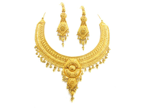 100.40g 22kt Gold Yellow Necklace Set India Jewellery