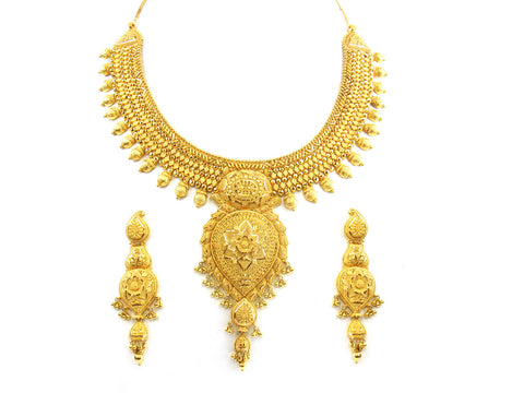 105.70g 22kt Gold Yellow Necklace Set India Jewellery