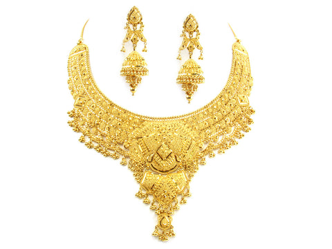 89.40g 22kt Gold Yellow Necklace Set India Jewellery