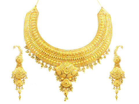 115.30g 22kt Gold Yellow Necklace Set India Jewellery