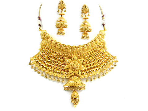 126.40g 22kt Gold Yellow Necklace Set India Jewellery