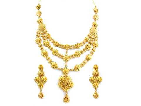 91.20g 22kt Gold Yellow Necklace Set India Jewellery