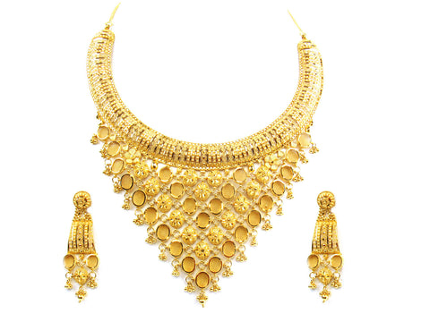92.60g 22kt Gold Yellow Necklace Set India Jewellery