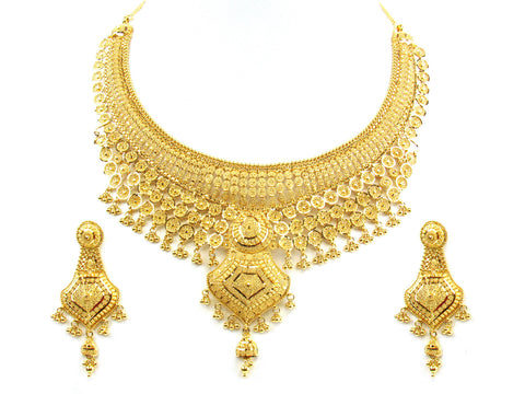 93.20g 22kt Gold Yellow Necklace Set India Jewellery