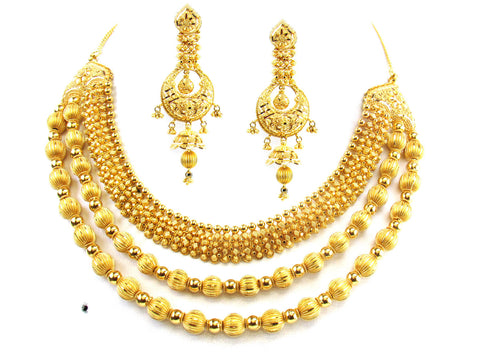 101.15g 22kt Gold Yellow Necklace Set India Jewellery