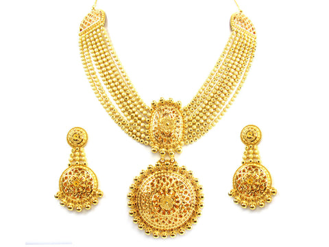 128.65g 22kt Gold Yellow Necklace Set India Jewellery