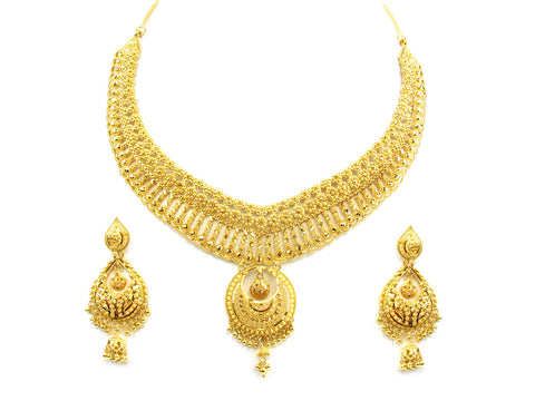83.65g 22kt Gold Yellow Necklace Set India Jewellery