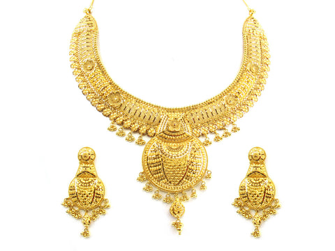 90.60g 22kt Gold Yellow Necklace Set India Jewellery