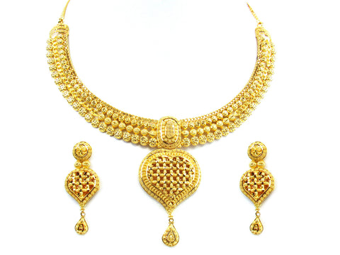 47.30g 22kt Gold Yellow Necklace Set India Jewellery
